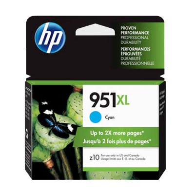 HP 951XL Cyan Ink Cartridge, CN046A